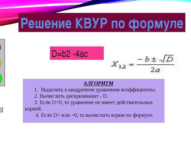 Решение КВУР по формуле D=b2 -4ac АЛГОРИТМ 1. Выделить в квадратном уравнении...