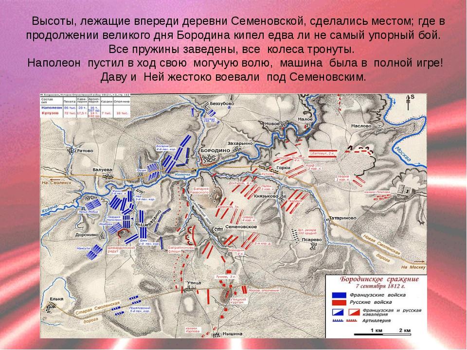 Высоты, лежащие впереди деревни Семеновской, сделались местом; где в продолже...