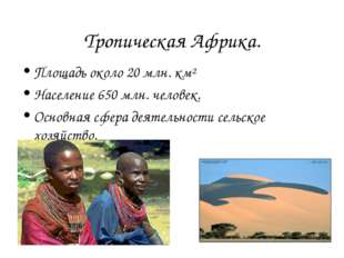 Тропическая Африка. Площадь около 20 млн. км² Население 650 млн. человек. Осн