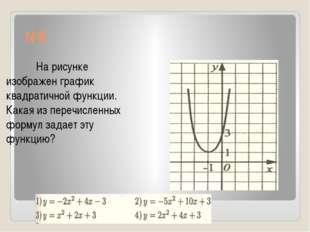 №8 На рисунке изображен график квадратичной функции. Какая из перечисленных