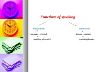 Functions of speaking Transactional Interactional massage – oriented listener