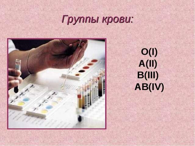 Группы крови: О(I) А(II) В(III) АВ(IV)
