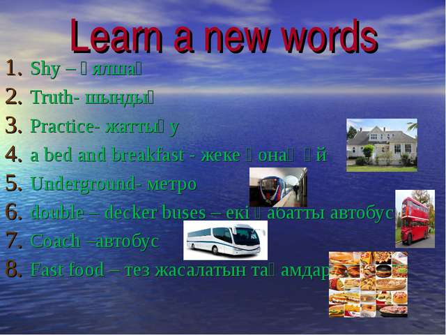 Learn a new words Shy – ұялшақ Truth- шындық Practice- жаттығу a bed and brea...