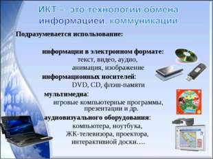 информации в электронном формате: текст, видео, аудио, анимация, изображение