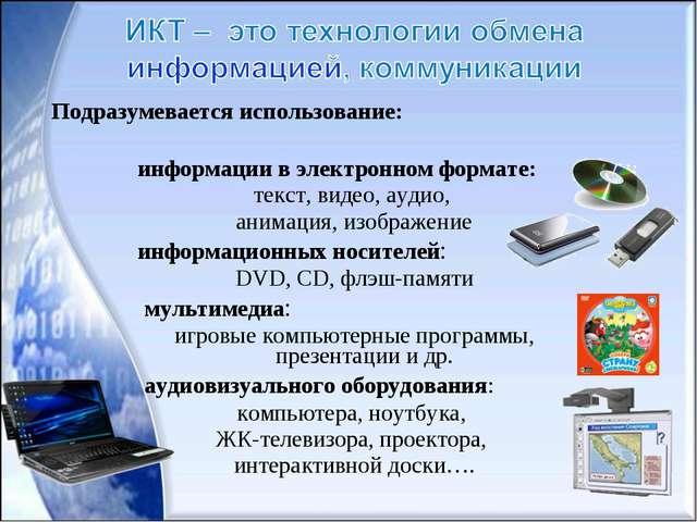 информации в электронном формате: текст, видео, аудио, анимация, изображение...