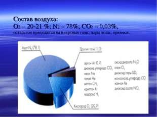 Состав воздуха: О2 – 20-21 %; N2 – 78%; CO2 – 0,03%, остальное приходится на