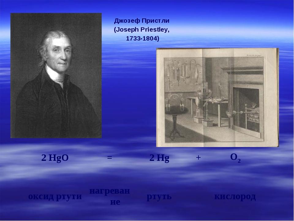 Джозеф Пристли (Joseph Priestley, 1733-1804) 2 HgO=2 Hg+O2 оксид ртутина...