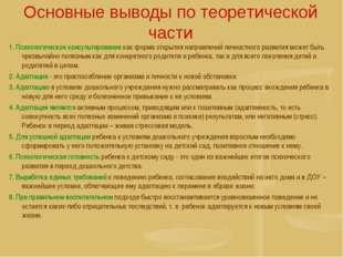Основные выводы по теоретической части 1. Психологическое консультирование ка