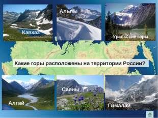 Кавказ Альпы Уральские горы Какие горы расположены на территории России? Алта