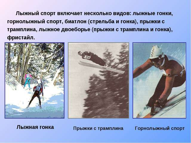 Лыжный спорт включает несколько видов: лыжные гонки, горнолыжный спорт, биат...