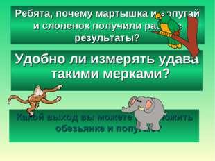 Ребята, почему мартышка и попугай и слоненок получили разные результаты? Како