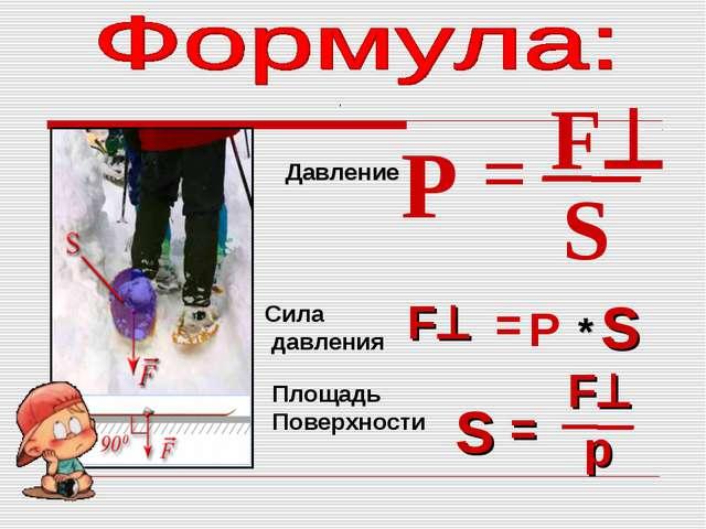 P = F S F = F P * S S = р Сила давления Площадь Поверхности Давление