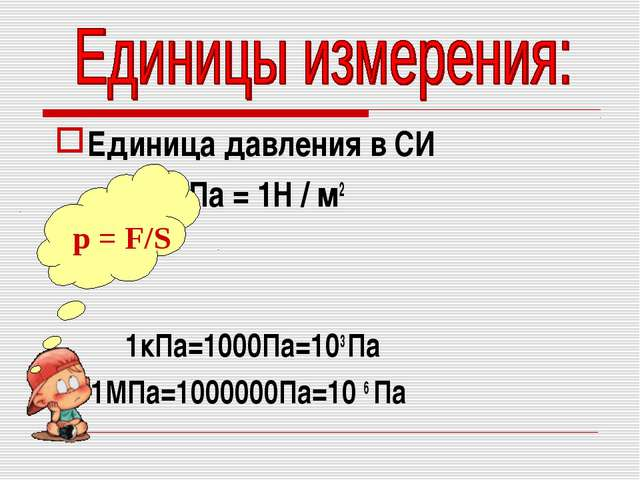 Единица давления в СИ 1 Па = 1Н / м2 1кПа=1000Па=103 Па 1МПа=1000000Па=10 6 П...