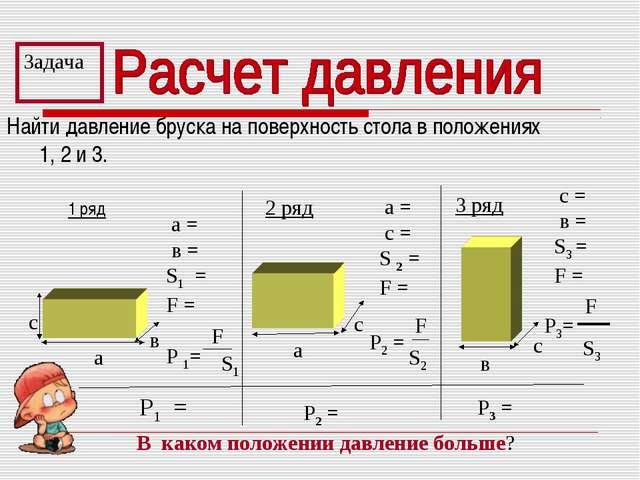 Найти давление бруска на поверхность стола в положениях 1, 2 и 3. Задача Р1 =...