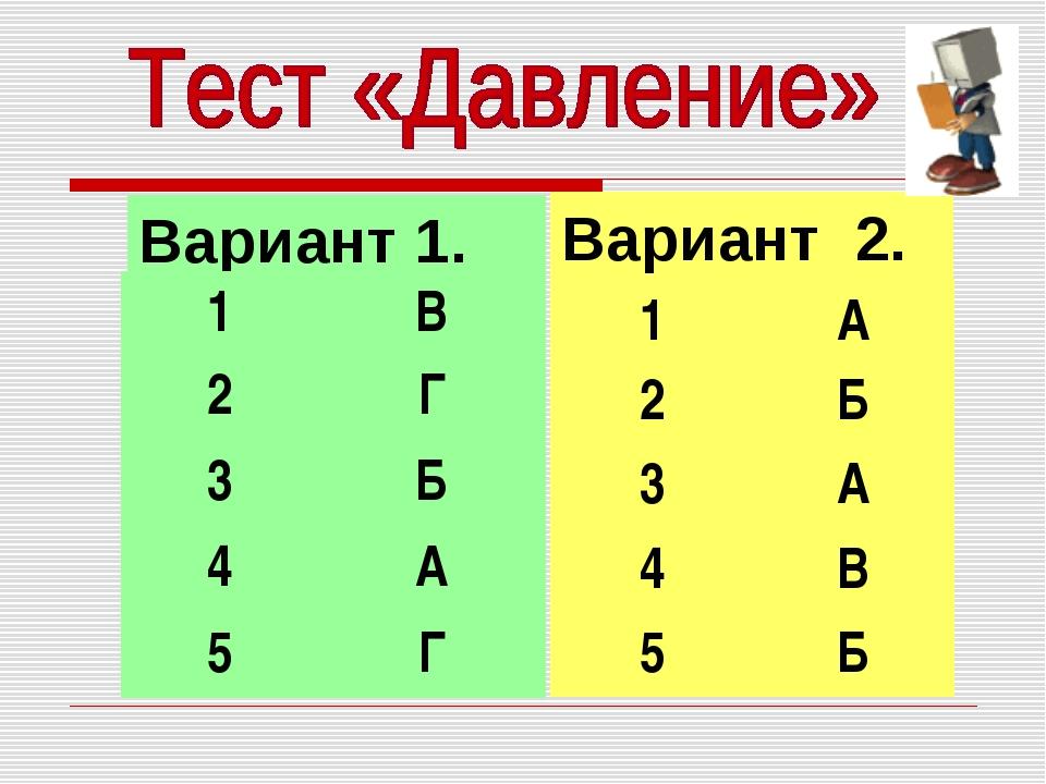 Вариант 1. Вариант 2. 1В 2Г 3Б 4А 5Г 1А 2Б 3А 4В 5Б