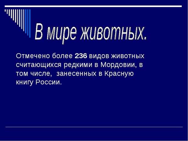Отмечено более 236 видов животных считающихся редкими в Мордовии, в том числ...