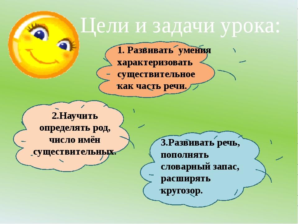 1. Развивать умения характеризовать существительное как часть речи. 2.Научит...