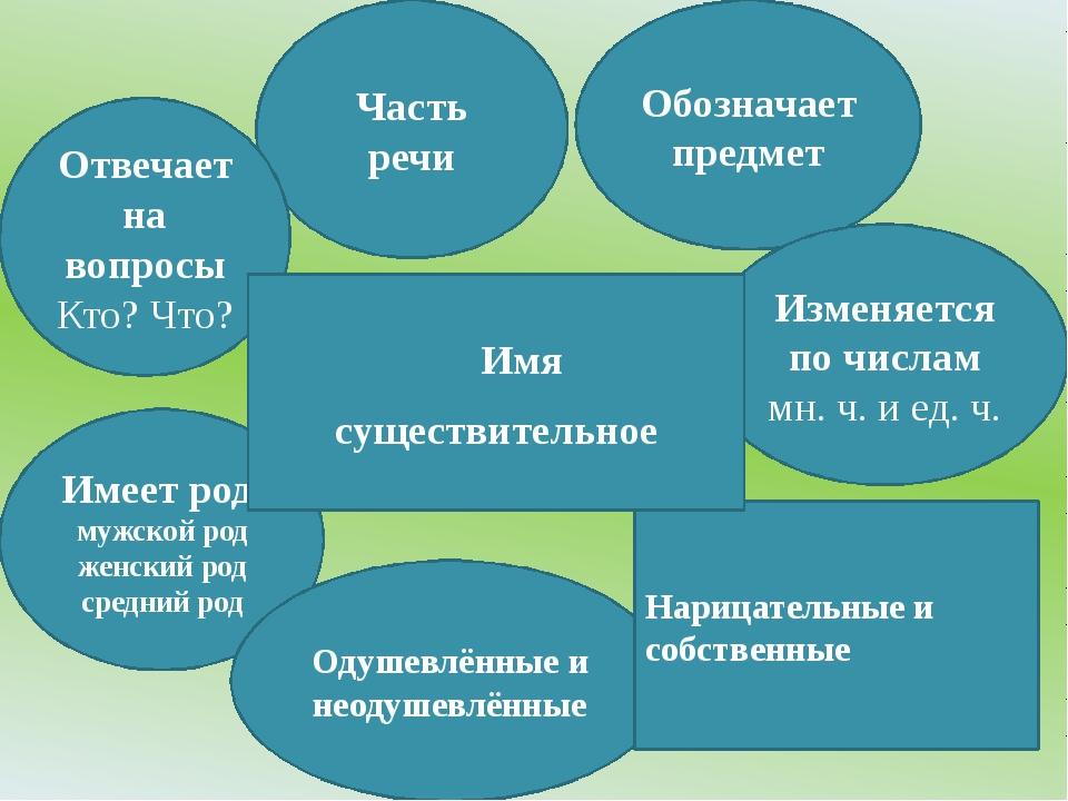 Часть речи Обозначает предмет Отвечает на вопросы Кто? Что? Изменяется по чис...
