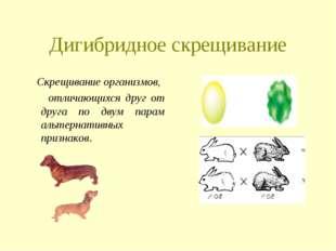 Дигибридное скрещивание Скрещивание организмов, отличающихся друг от друга по
