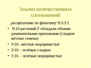 Анализ количественных соотношений расщепление по фенотипу 9:3:3:1 9\16 растен