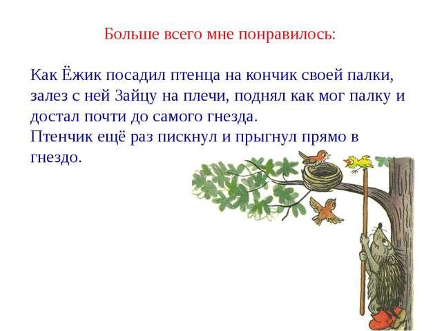 Больше всего мне понравилось: Как Ёжик посадил птенца на кончик своей палки,...