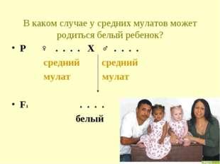 В каком случае у средних мулатов может родиться белый ребенок? Р ♀ . . . . Х
