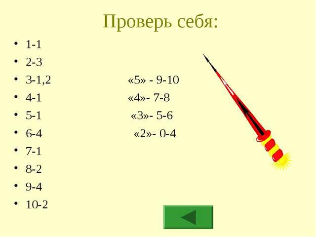 Проверь себя: 1-1 2-3 3-1,2 «5» - 9-10 4-1 «4»- 7-8 5-1 «3»- 5-6 6-4 «2»- 0-4...