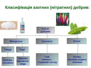 Класифікація азотних (нітратних) добрив: Азотні добрива Мінеральні Органічні