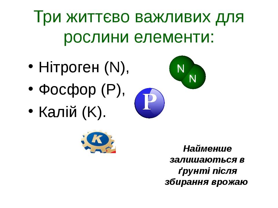 Три життєво важливих для рослини елементи: Нітроген (N), Фосфор (P), Калій (K...