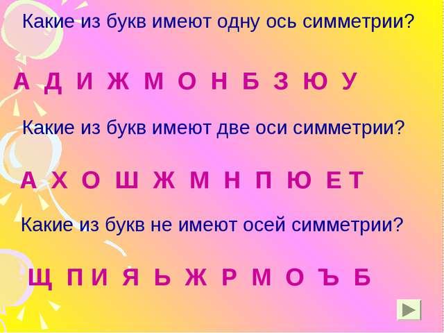 Какие из букв имеют одну ось симметрии? Какие из букв имеют две оси симметрии...
