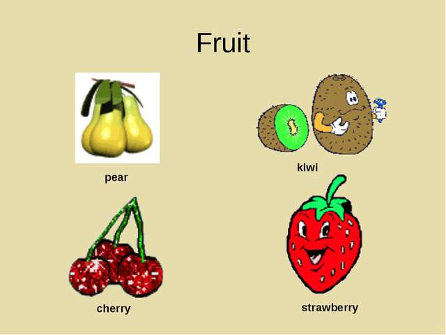Fruit pear kiwi cherry strawberry