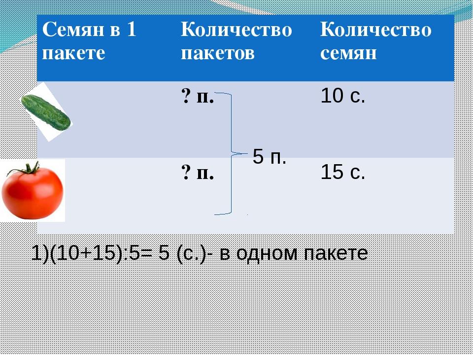 5 п. 1)(10+15):5= 5 (с.)- в одном пакете Семян в 1 пакете Количество пакетов...