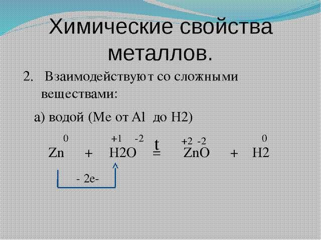 Химические свойства металлов. 2. Взаимодействуют со сложными веществами: а) в...