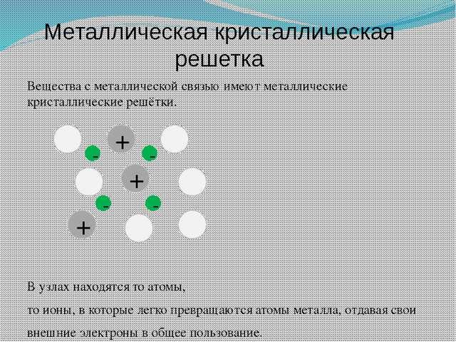 Металлическая кристаллическая решетка Вещества с металлической связью имеют м...