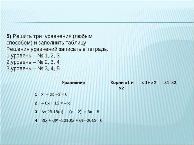 5) Решить три уравнения (любым способом) и заполнить таблицу. Решения уравнен...