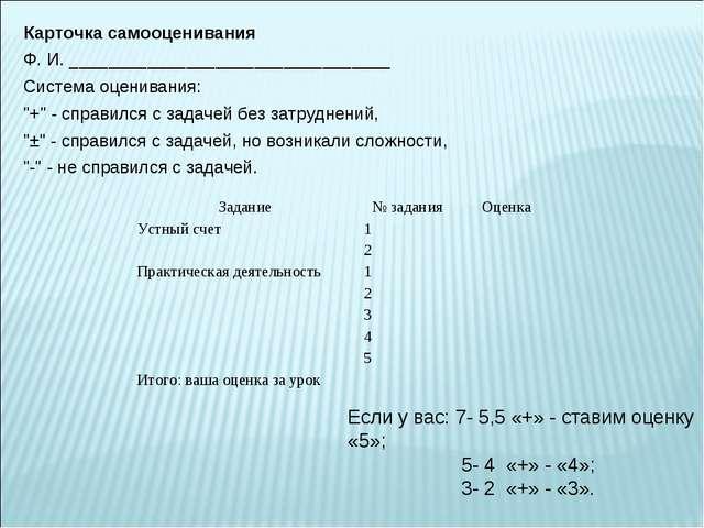 Карточка самооценивания Ф. И. _________________________________ Система оцени...
