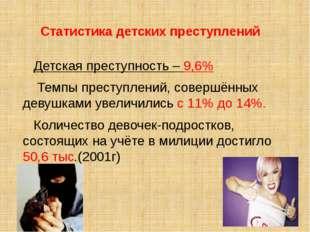 Статистика детских преступлений Детская преступность – 9,6% Темпы преступлени