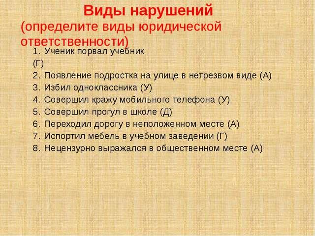 Виды нарушений (определите виды юридической ответственности) Ученик порвал у...