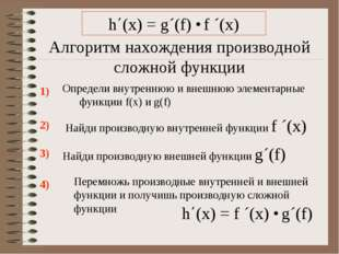 Алгоритм нахождения производной сложной функции Определи внутреннюю и внешнюю