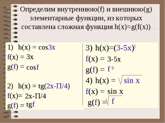 Определим внутреннюю(f) и внешнюю(g) элементарные функции, из которых состав...