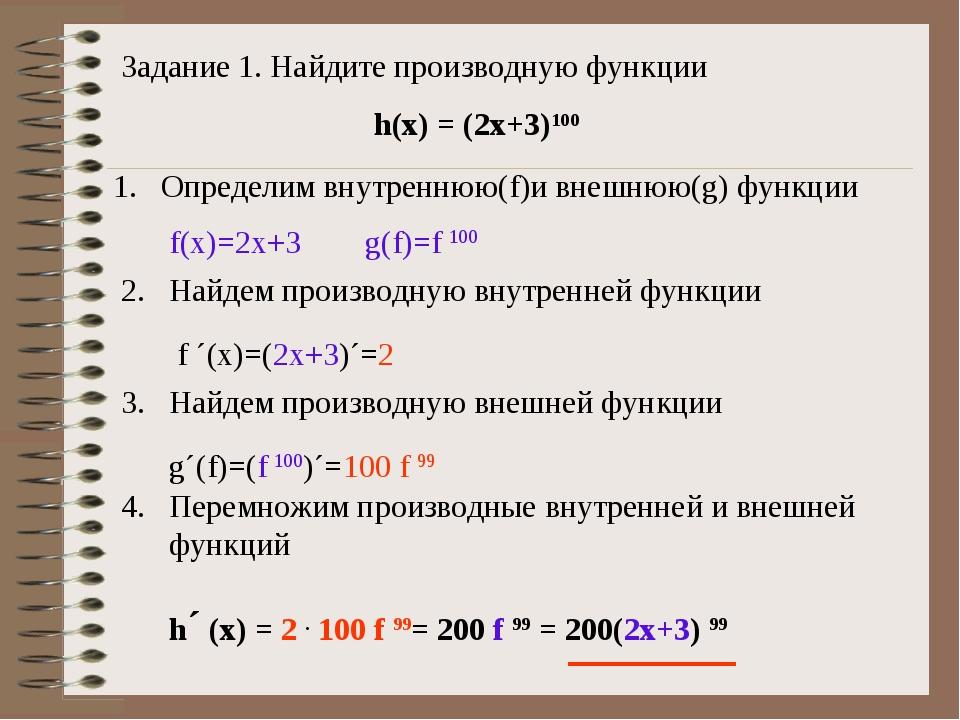 Задание 1. Найдите производную функции h(x) = (2x+3)100 Определим внутреннюю(...