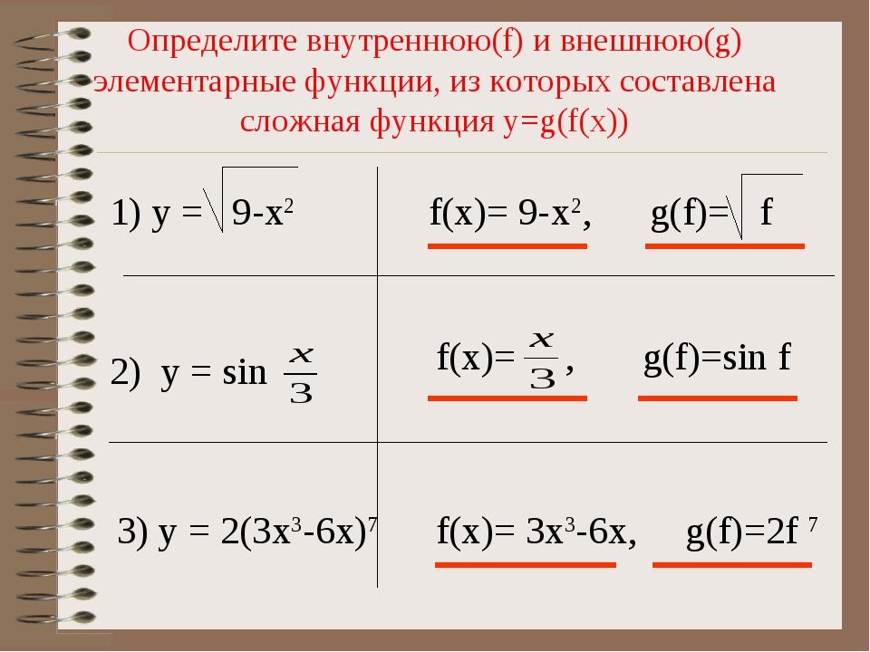 Определите внутреннюю(f) и внешнюю(g) элементарные функции, из которых соста...