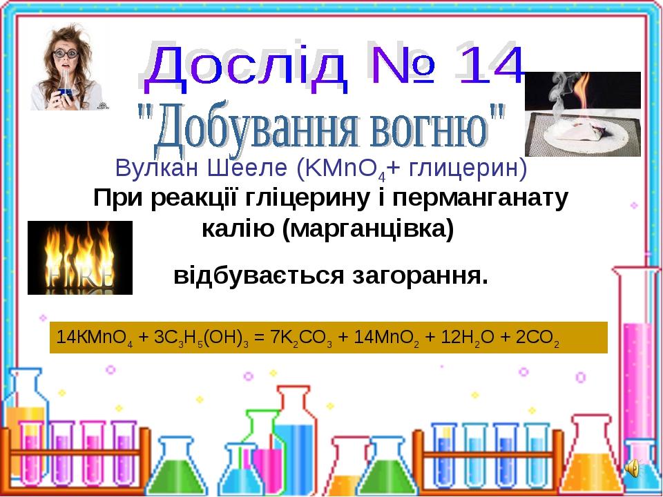 При реакції гліцерину і перманганату калію (марганцівка) відбувається загоран...