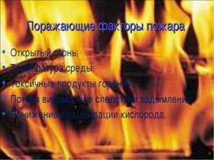 Поражающие факторы пожара Открытый огонь; Температура среды; Токсичные продук