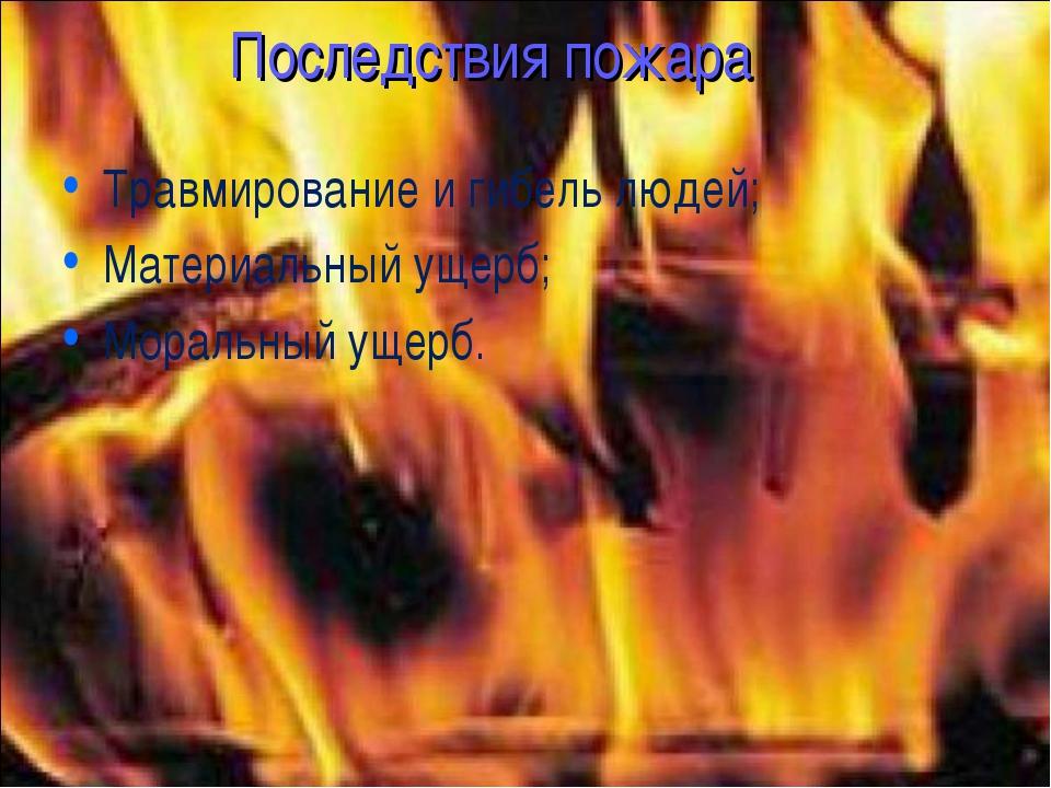 Последствия пожара Травмирование и гибель людей; Материальный ущерб; Моральны...
