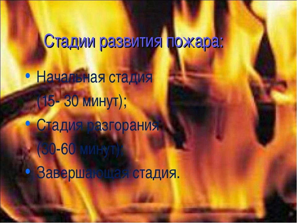 Стадии развития пожара: Начальная стадия (15- 30 минут); Стадия разгорания (3...