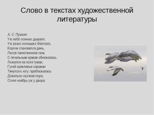 Слово в текстах художественной литературы А. С. Пушкин Уж небо осенью дышало,