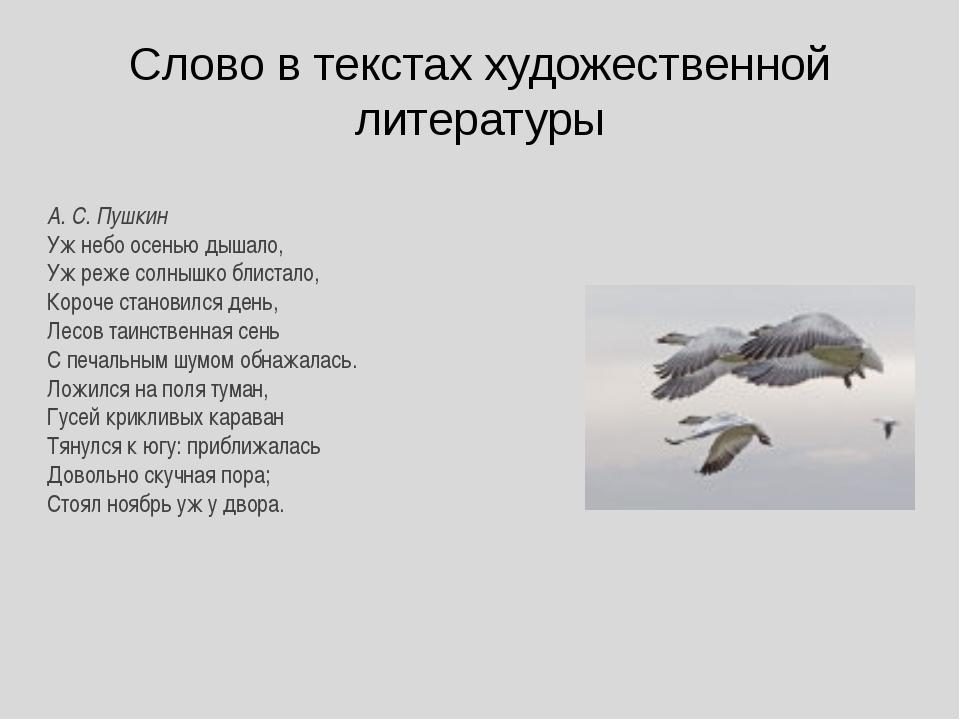 Слово в текстах художественной литературы А. С. Пушкин Уж небо осенью дышало,...