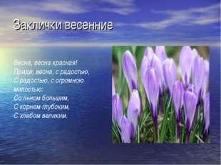 Заклички весенние Весна, весна красная! Приди, весна, с радостью, С радостью,