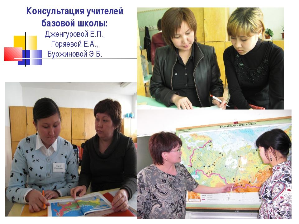 Консультация учителей базовой школы: Дженгуровой Е.П., Горяевой Е.А., Буржино...